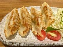 Τέσσερα Gyoza ασιατικά τρόφιμα Στοκ Εικόνα