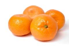 τέσσερα tangerines λευκό Στοκ Εικόνες