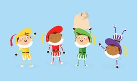 Τέσσερα Zwarte Piet Sinterklaas ή αρωγοί Άγιου Βασίλη - διανυσματική απεικόνιση π απεικόνιση αποθεμάτων