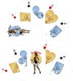 Τέσσερις άσσοι και αφροαμερικανίδες κάρτες παιχνιδιού πλακατζών Στοκ Εικόνες