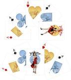 Τέσσερις άσσοι και καυκάσιες κάρτες παιχνιδιού πλακατζών noir Στοκ φωτογραφίες με δικαίωμα ελεύθερης χρήσης