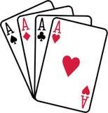 Τέσσερις άσσοι που παίζουν τις λέσχες διαμαντιών καρδιών φτυαριών καρτών ελεύθερη απεικόνιση δικαιώματος
