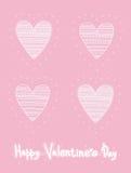 Τέσσερις ίδιες καρδιές σκίτσων με τη διακόσμηση Χέρι που σύρεται χαριτωμένη ημέρα βαλεντίνων ευχετήριων καρτών Στοκ φωτογραφία με δικαίωμα ελεύθερης χρήσης