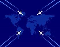 Τέσσερις αεροπλάνα και χάρτης Στοκ φωτογραφία με δικαίωμα ελεύθερης χρήσης