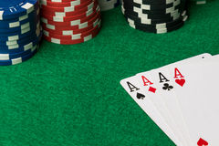 Τέσσερις από άσσους τους καλούς πόκερ χεριών στοκ εικόνα