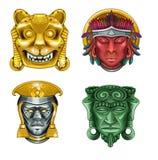 Τέσσερις αρχαίες μάσκες Ελεύθερη απεικόνιση δικαιώματος