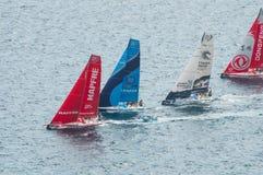 Τέσσερις βάρκες στην έναρξη της φυλής της VOLVO oceanΣτοκ εικόνα με δικαίωμα ελεύθερης χρήσης