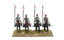 Τέσσερις γαλλικοί στρατιώτες παιχνιδιών στην πλάτη αλόγου Στοκ εικόνες με δικαίωμα ελεύθερης χρήσης