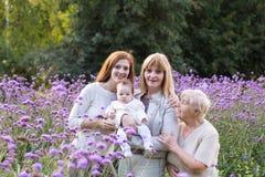 Τέσσερις γενεές των γυναικών σε έναν όμορφο lavender τομέα Στοκ εικόνα με δικαίωμα ελεύθερης χρήσης