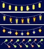 Τέσσερις γιρλάντες του συνόλου φω'των διανυσματική απεικόνιση
