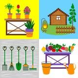 Τέσσερις επίπεδες έννοιες κήπων Στοκ Εικόνες
