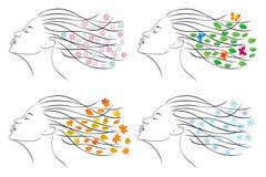 τέσσερις εποχές Θηλυκό κεφάλι για το σχέδιο Στοκ εικόνες με δικαίωμα ελεύθερης χρήσης