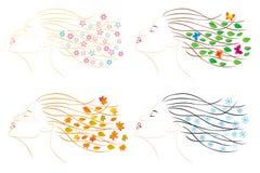 τέσσερις εποχές Θηλυκό κεφάλι για το δ Στοκ φωτογραφία με δικαίωμα ελεύθερης χρήσης