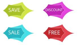 Τέσσερις ετικέτες (εκτός από, έκπτωση, πώληση, ελεύθερη) Στοκ φωτογραφία με δικαίωμα ελεύθερης χρήσης