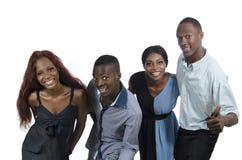 Τέσσερις ευτυχείς αφρικανικοί άνθρωποι έχουν τη διασκέδαση Στοκ Φωτογραφίες