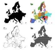Τέσσερις διανυσματικοί χάρτες της Ευρώπης Στοκ Εικόνες