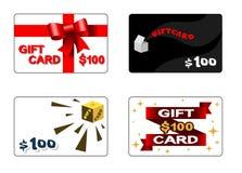 Τέσσερις κάρτες δώρων Στοκ Φωτογραφίες
