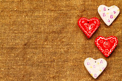 Τέσσερις καρδιές καφετί ημερησίως βαλεντίνων ` s του ST υποβάθρου Στοκ φωτογραφία με δικαίωμα ελεύθερης χρήσης