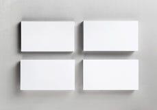 Τέσσερις κενές επαγγελματικές κάρτες Στοκ εικόνα με δικαίωμα ελεύθερης χρήσης