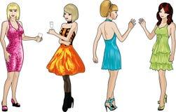 Τέσσερις κυρίες στα φορέματα κοκτέιλ Στοκ φωτογραφίες με δικαίωμα ελεύθερης χρήσης