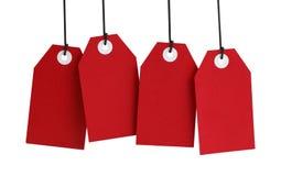 Τέσσερις κόκκινες ετικέττες Στοκ φωτογραφίες με δικαίωμα ελεύθερης χρήσης