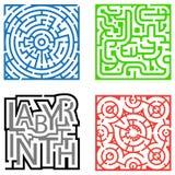 τέσσερις λαβύρινθοι Στοκ εικόνες με δικαίωμα ελεύθερης χρήσης