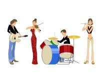 Τέσσερις μουσικοί εφήβων Διανυσματική απεικόνιση