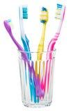 Τέσσερις οδοντόβουρτσες στο γυαλί Στοκ Εικόνα