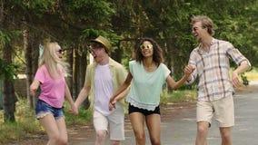 Τέσσερις πολυφυλετικοί φίλοι που πηδούν μαζί στο πάρκο στο υπαίθριο φεστιβάλ μουσικής φιλμ μικρού μήκους