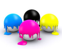 Τέσσερις σφαίρες χρώματος CMYK Στοκ φωτογραφία με δικαίωμα ελεύθερης χρήσης