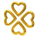 Τέσσερις χρυσές καρδιές ως τριφύλλι τέσσερις-φύλλων τρισδιάστατο Στοκ φωτογραφία με δικαίωμα ελεύθερης χρήσης
