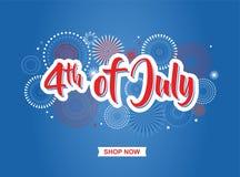 τέταρτος Ιουλίου 4ος του εμβλήματος διακοπών Ιουλίου Έμβλημα ΑΜΕΡΙΚΑΝΙΚΗΣ ημέρας της ανεξαρτησίας για την πώληση, την έκπτωση, τη διανυσματική απεικόνιση