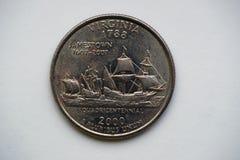 1/4 τέταρτο ` Βιρτζίνια δολαρίων ` Ουάσιγκτον στοκ φωτογραφία με δικαίωμα ελεύθερης χρήσης
