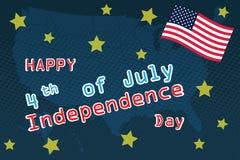 Τέταρτο Ιουλίου, ενωμένος δηλωμένος της χαιρετισμόςης ημέρας της ανεξαρτησίας 4 Ιουλίου τυπογραφικό σχέδιο Χρησιμοποιήσιμος για τ ελεύθερη απεικόνιση δικαιώματος