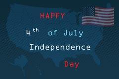 Τέταρτο Ιουλίου, ενωμένος δηλωμένος της χαιρετισμόςης ημέρας της ανεξαρτησίας 4 Ιουλίου τυπογραφικό σχέδιο Χρησιμοποιήσιμος για τ διανυσματική απεικόνιση
