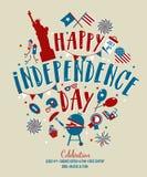 Τέταρτο Ιουλίου, ενωμένος δηλωμένος της χαιρετισμόςης ημέρας της ανεξαρτησίας 4 Ιουλίου τυπογραφικό σχέδιο Χρησιμοποιήσιμος για τ απεικόνιση αποθεμάτων
