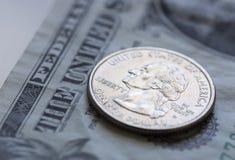 Τέταρτο στο αμερικανικό δολάριο Μπιλ Στοκ Φωτογραφίες