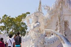 τέχνης έλξης το όμορφο rai khun chiang καλλιεργητικό λεπτό rong αναθέτει το λευκό της Ταϊλάνδης ναών wat Στοκ Φωτογραφία