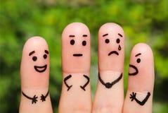 Τέχνη δάχτυλων των ανθρώπων έννοια των ανθρώπων με τις διαφορετικές προσωπικότητες Στοκ εικόνα με δικαίωμα ελεύθερης χρήσης