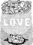 Τέχνη αγάπης στην απεικόνιση doodle Στοκ Εικόνες