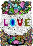 Τέχνη αγάπης στην απεικόνιση doodle Στοκ εικόνες με δικαίωμα ελεύθερης χρήσης