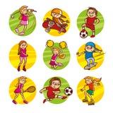 Τέχνη αθλητικών καθορισμένη διανυσματική συνδετήρων παιδιών κινούμενων σχεδίων στοκ φωτογραφία με δικαίωμα ελεύθερης χρήσης