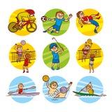 Τέχνη αθλητικών καθορισμένη διανυσματική συνδετήρων παιδιών κινούμενων σχεδίων στοκ φωτογραφίες με δικαίωμα ελεύθερης χρήσης