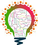 Τέχνη απεικόνισης εκατομμύριο ελαφριού λογότυπου κυκλωμάτων λαμπτήρων με το υπόβαθρο Στοκ Εικόνες