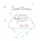 Τέχνη βρεφικών σταθμών: χαριτωμένος hand-drawn ύπνος γατών στο αστείο μαλακό σύννεφο Στοκ Εικόνες