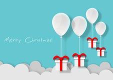 Τέχνη εγγράφου άσπρο να επιπλεύσει μπαλονιών και του κιβωτίου δώρων επάνω στο υπόβαθρο μπλε ουρανού αέρα, Χριστούγεννα, φεστιβάλ, διανυσματική απεικόνιση