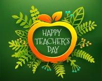 Τέχνη εγγράφου ημέρας δασκάλων με το μήλο Στοκ φωτογραφίες με δικαίωμα ελεύθερης χρήσης