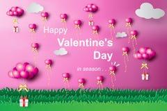 Τέχνη εγγράφου του ευτυχούς μπαλονιού καρδιών ημέρας βαλεντίνων που πετά με το δώρο απεικόνιση αποθεμάτων