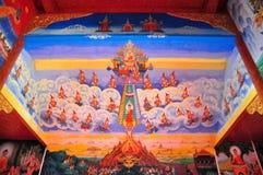 Τέχνη ζωγραφικής παλαιά για την ιστορία του Βούδα σχετικά με τον τοίχο ναών σε ΧΙ Shuang Στοκ Εικόνα