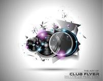 Τέχνη ιπτάμενων Disco για τα υπόβαθρα γεγονότος μουσικής, αφίσες, φυλλάδιο διανυσματική απεικόνιση